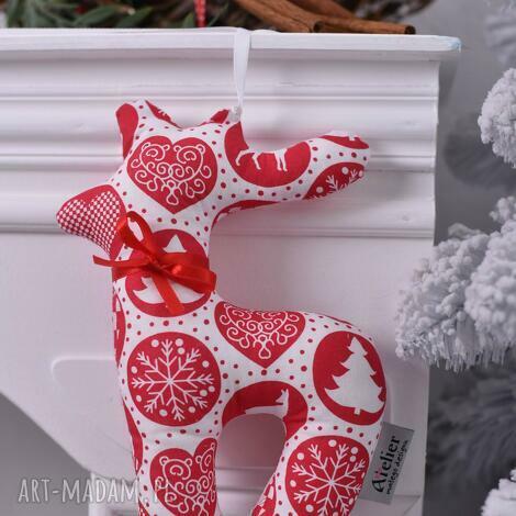 renifer świąteczny biało-czerwony, ozdoby-świąteczne, dekoracja-święta