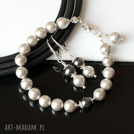 srebrzysty komplet, perły, sea shell, srebro