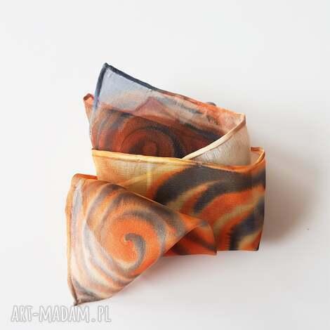 krawaty ręcznie malowana poszetka - pomarańcze i granaty, poszetka