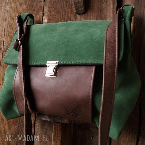 048285a2f52af Teczka z troczkiem zielony zamsz a4. Zielone torebki na ramię wiosenna  kobieca350