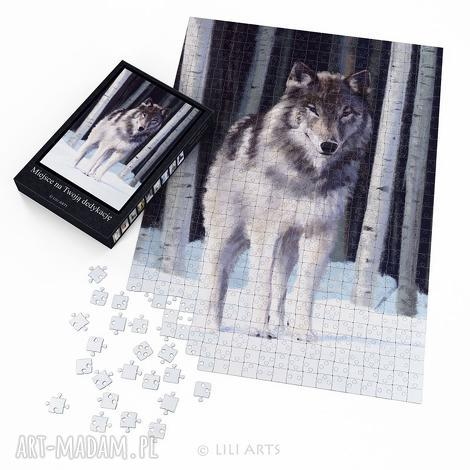 puzzle - szary wilk 60x42 cm 600 elementów, puzzle, układanka, wilk, husky
