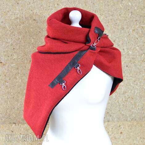 szal weŁniany czerwony ze skÓrĄ, szal czerwonego kapturka - szal, szalik