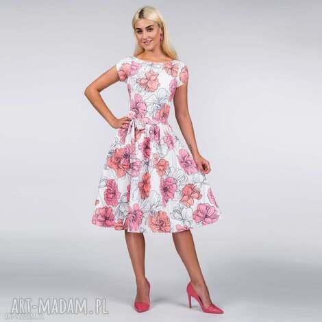 sukienka marie midi rozetka, sukienka, midi, rozkloszowana, lato, kwiaty, pasek