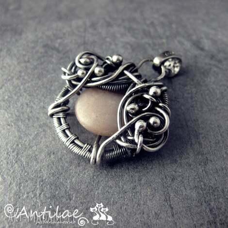 quyosh - kamień słoneczny, srebro, wire wrapping - wisior, wirewrapping, srebro