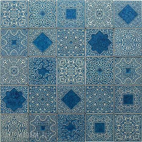 kafle szaroniebieskie arabeski, zestaw 25 sztuk, kafle, dekory, kafelki, płytki
