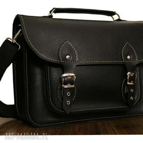 teczki torba z czarnej ekoskóry na laptopa 17, teczka, satchel, prezent, praca