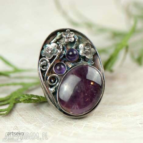 rubin w kwiatach pierścionek srebrny a597 - pierścionek srebrny, pierścionek