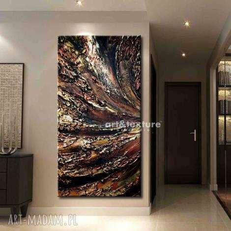 miedziana odchłań - abstrakcyjne obrazy do modnego salonu, dekoracja