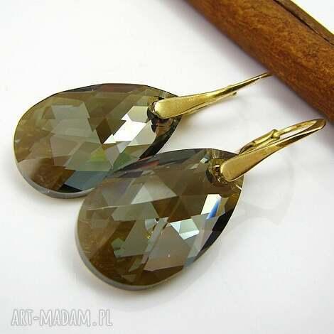 kolczyki srebro pozłacane złocisty brąz swarovski migdał, kolczyki
