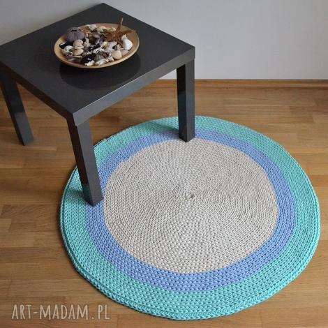 dywan okrągły ze sznurka - ecru-błękit -mięta 100 cm, dywan, do-pokoju-dziecięceg