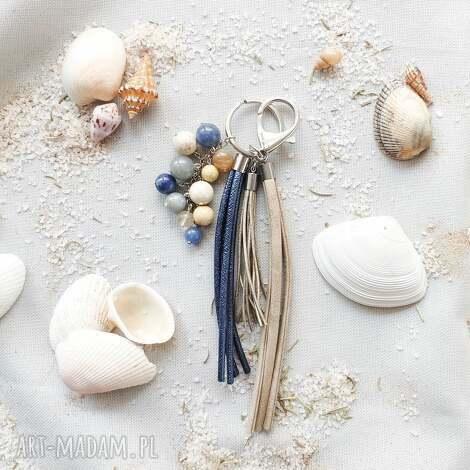 brelok z kamieniami naturalnymi - seashore iii - brelok, zawieszka, kamienie, awenturyn