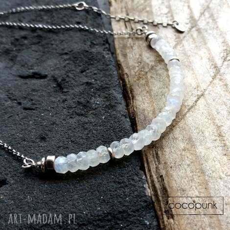 srebro i kamieŃ ksiĘŻycowy- nowoczesny krótki naszyjnik - biały