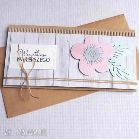 kartki kartka kopertówka pastelowa kwiecista, ślub, imieniny, urodziny