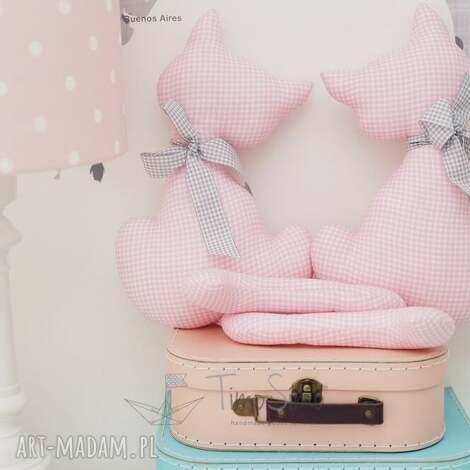 przytulanki koty maja i milan różowy, bawełna pokoik dziecka