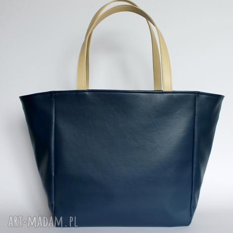 51391bb909cb7 na ramię shopper bag worek - granat i rączki jasny beż