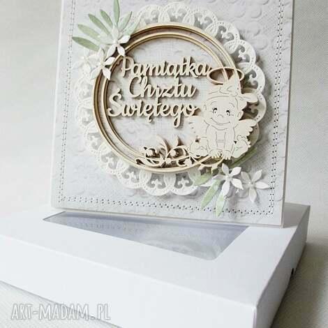 w dniu chrztu - w pudełku - chrzest, życzenia, pamiątka, zaproszenie