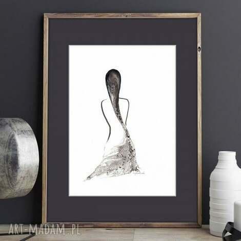obraz kobieta, ręcznie malowany, akwarela, plakat a4, ilustracja, grafika czarno