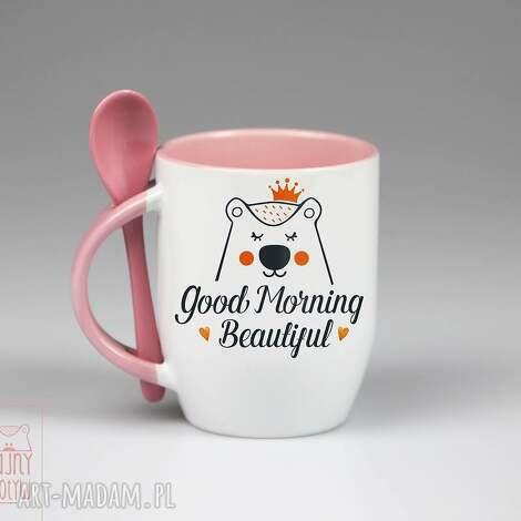 kubki kubek z łyżeczką good morning, ceramika, kubek, łyżeczką, personalizacja