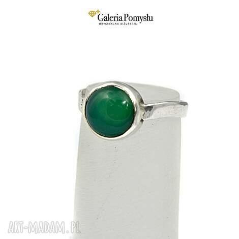 pierścionki pierścionek z zielonym onyksem, pierścionek, srebrny, 925, onyks