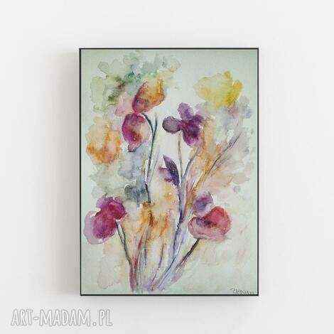abstrakcyjne kwiaty-akwarela formatu a4, abstrakcja, kwiaty, akwarela