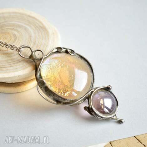 pastele - naszyjnik z wisiorem, wisior szklany, wisior dla niej, biżuteria dla niej
