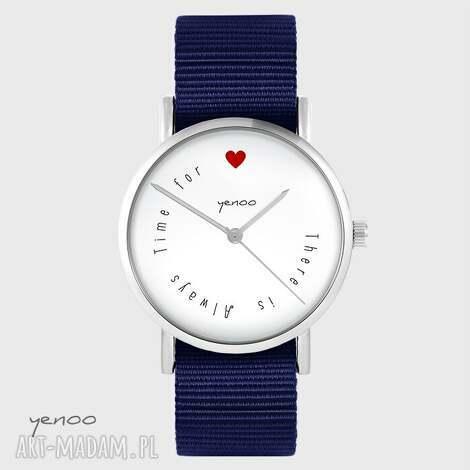zegarek yenoo - there is always time for love granatowy, nato, zegarek, nato