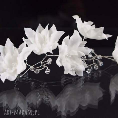 zestaw jedwabnych kwiatów, ślub, swarovski, jedwab, ozdoba, kwiat, kryształ