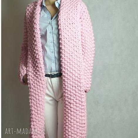 pink-pale chunky, sweter, kardigan, dziergany, gruby, masywny