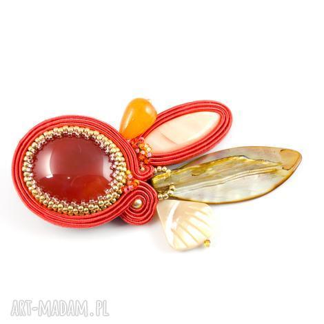 pomarańczowa broszka sutaszowa do szala, biżuteria w kolorze terakoty - idealna