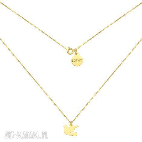 złoty naszyjnik z gołębiem, gołąb łańcuszek, żółty
