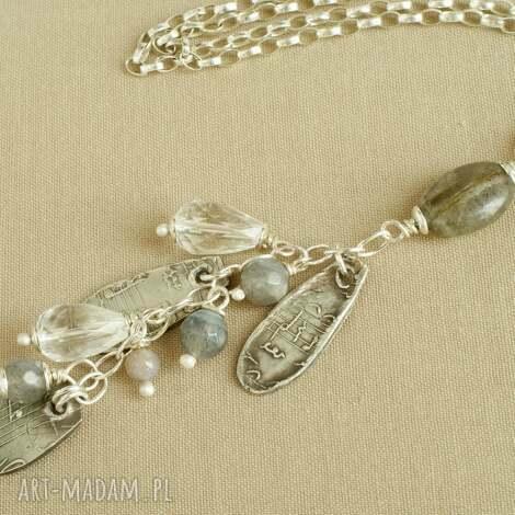 naszyjnik ze srebra i kryształu górskiego - srebro, delikatny, kobiecy