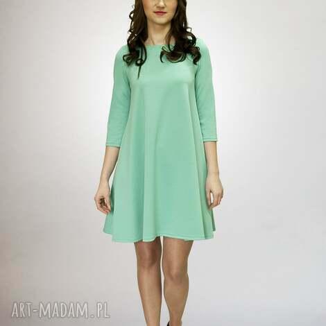 lalu sukienki 7 - sukienka miętowa, sukienka, sukienki, dzianina, rozkloszowana