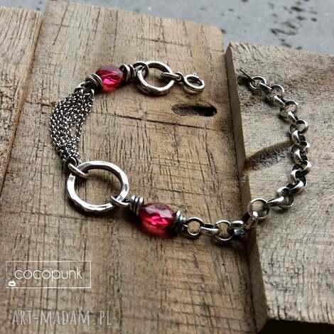 srebro i kwarc rózowy- bransoletka łańcuszkowa z kamieniami, bransoletka