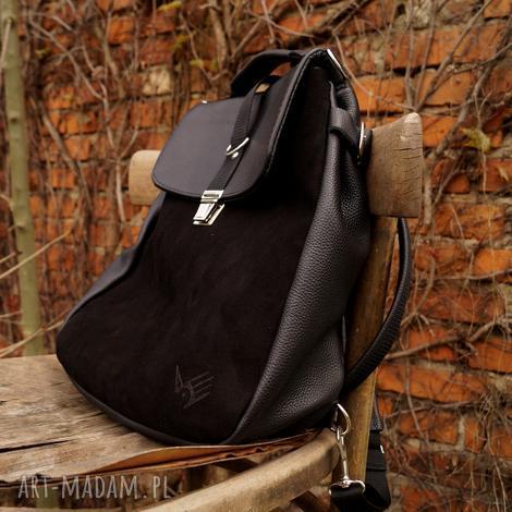 lilith plecak/torba czarna skóra, plecak, zamsz, czerń, kobieca