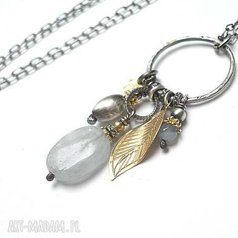 gołębi - naszyjnik - srebro, oksydowane, pozłacane, celestyn