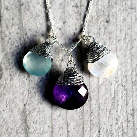 madamlili 925 srebrny łańcuszek akwamaryn ametyst kamień księżycowy, kamienie