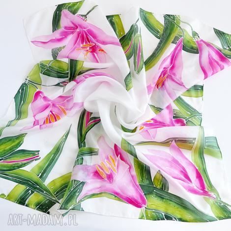 jedwabna chusta-lilie, chusta, malowana chusta w kwiaty