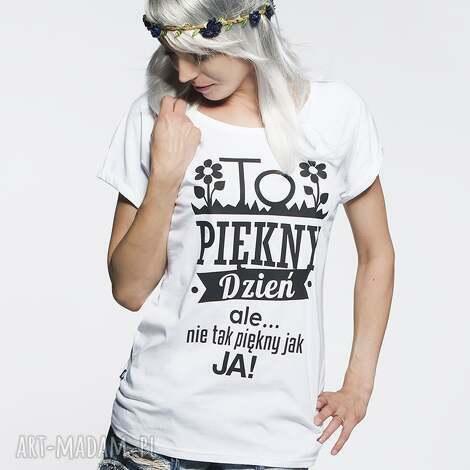 95c6b2ccd30901 koszulka piękny dzień, tshirt, biała, nadruk, prezent, piękna, śliczna  koszulki