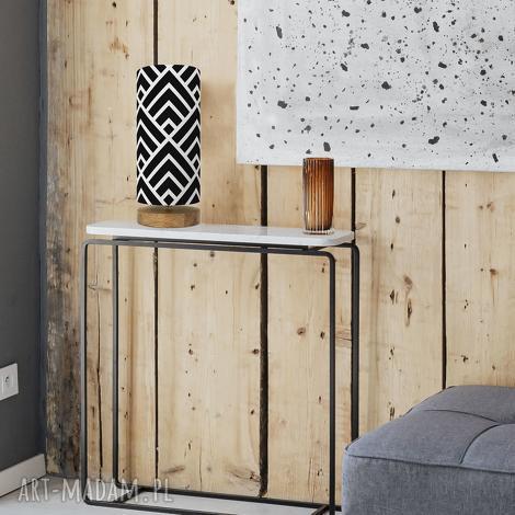 oryginalna lampa stołowa czarna-biała, styl, drewno, bawełna, unikat