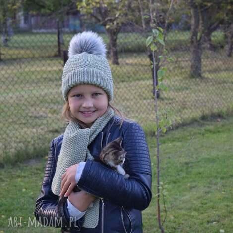 komplet pistacja merynos dziecięca - komplet, czapka, szalik, wełniany, ciepły
