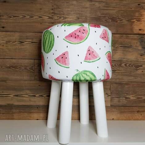 puff arbuz - 45 cm białe nogi, puf, arbuz, stołek, siedzisko, ryczka, hocker