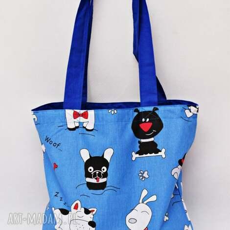 torba na zakupy shopperka ekologiczna pieski zakupowa ramię bawełniana
