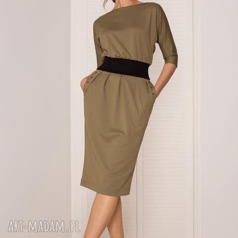 sukienka mono khaki, sukienka, dopasowana, uniwersalna, ołówkowa, dzianinowa