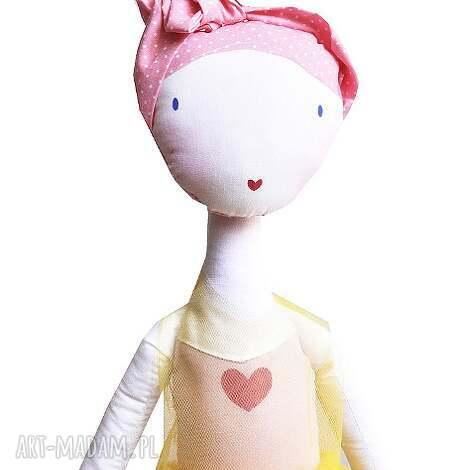 słoneczna nola - lalka z sercem, baletowa - balet, tutu, tiul, szmacianka, serce