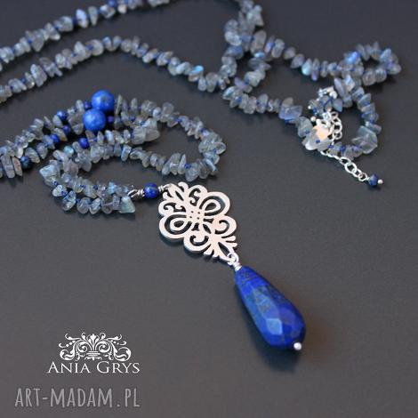 lapis lazuli, rozeta i labradoryt - naszyjnik, rozeta, lapis lazuli, labradoryt, jedwabny
