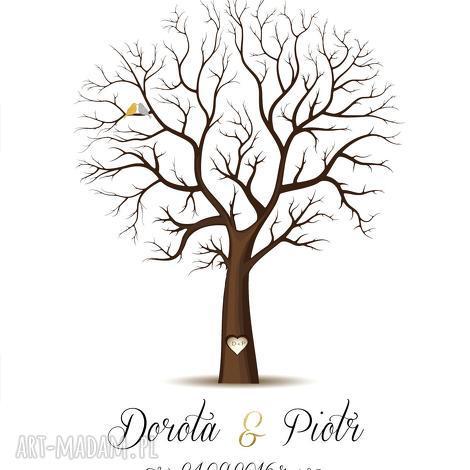 drzewo wpisów w formacie 50x70 cm 6 poduszeczek z tuszem, ślub, wesele