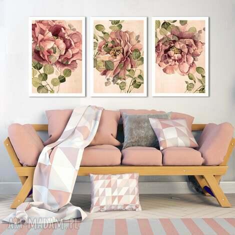 obraz drukowany na płótnie kwiaty piwoni -duży format 3 części każda 50x70cm