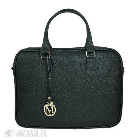 manzana biznes styl - torba na laptopa - czarna połyskująca dużego laptopa