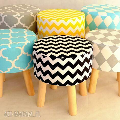 stołek fjerne s szary romby - taboret, stołek, dekoracja, skandynawski