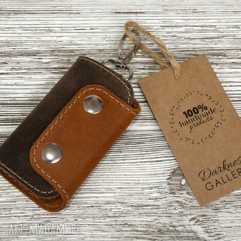 ręcznie robione skórzane etui na klucze-brelok, klucze